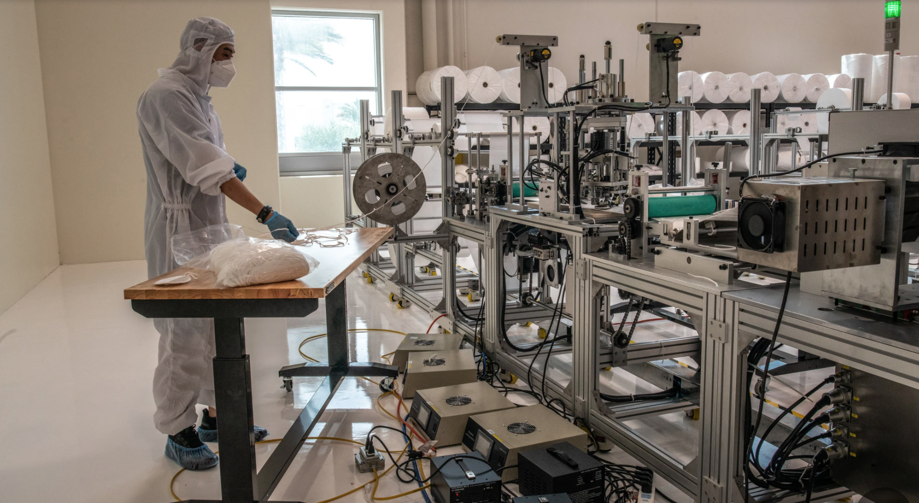 Supply snags as QYK Brands puts final touches on its $5 million medical mask production line as described in the South China Morning Post