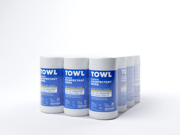 TOWL Surface Disinfectant Wipes - 35Ct Canister Case of 12