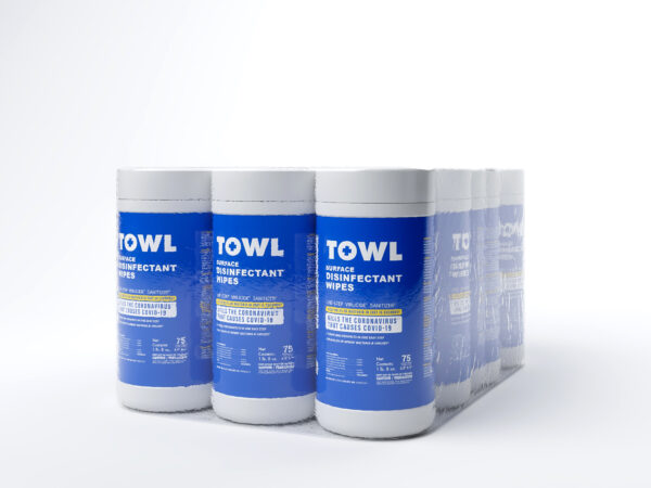 TOWL Surface Disinfectant Wipes - 75Ct Canister Case of 12
