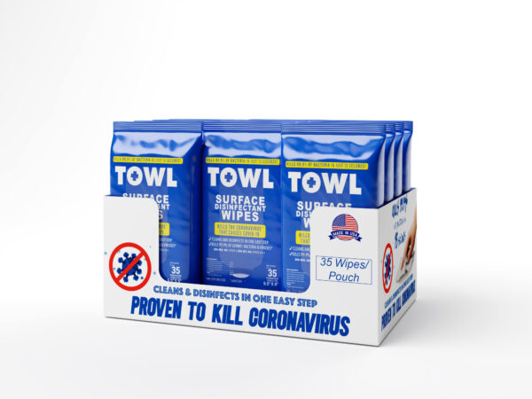 TOWL Surface Disinfectant Wipes - 35Ct Soft Packs Case of 12